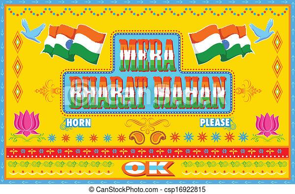 Vector Clip Art of Mera Bharat Mahan in truck paint style ...