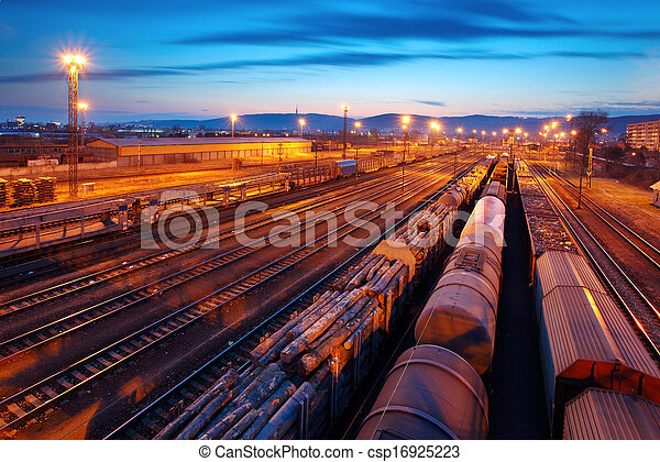 Freight Station with trains - Cargo transportation - csp16925223