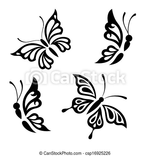 Vector Illustration of Collection black and white butterflies for ...