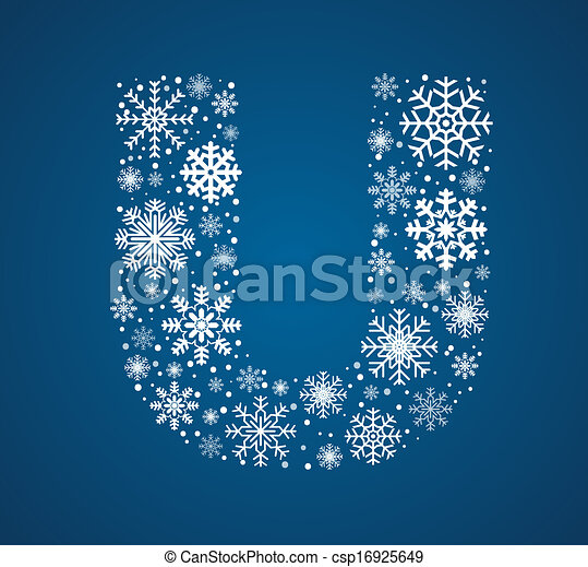 Letter U, vector font frosty snowflakes - csp16925649