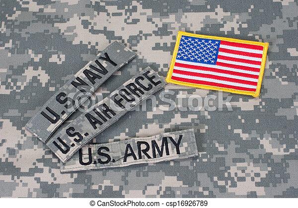 US military concept on camouflage uniform - csp16926789
