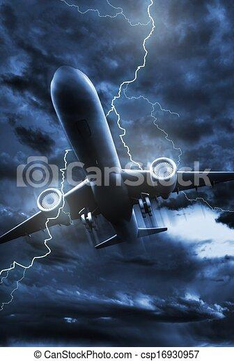 stock illustrations of airplane lightning strike