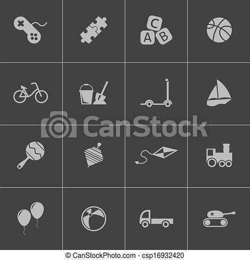 Vector black  toys  icons set - csp16932420