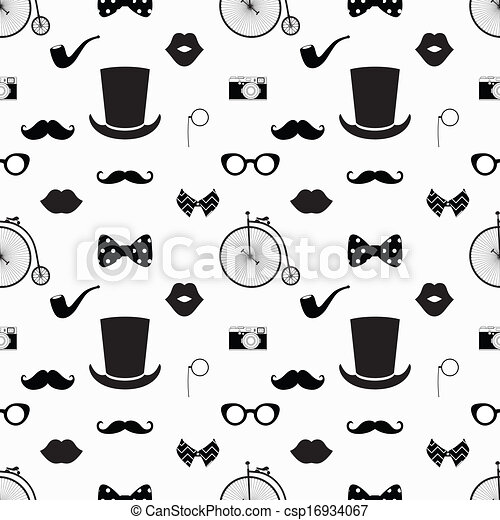 Hipster Black and White Seamless Pattern - csp16934067