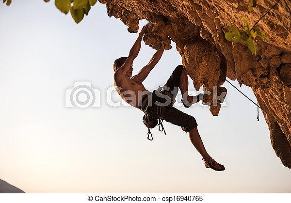 Rock climber of a cliff