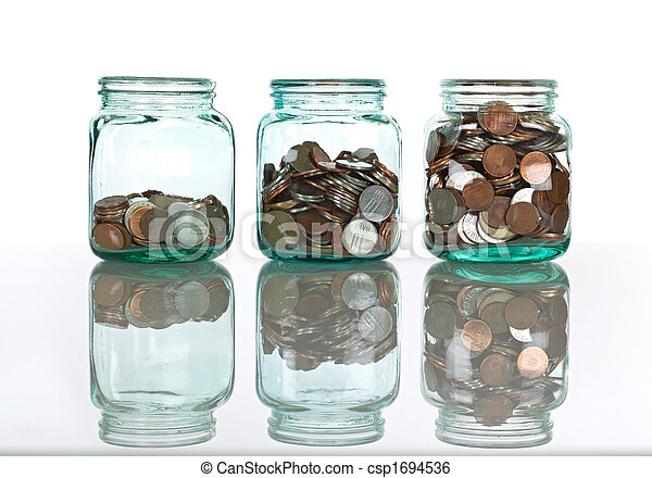 Glass jars with coins - savings concept - csp1694536