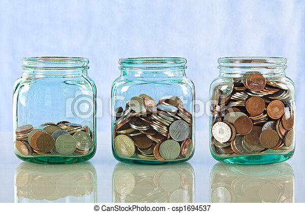 Saving money in old jars - csp1694537