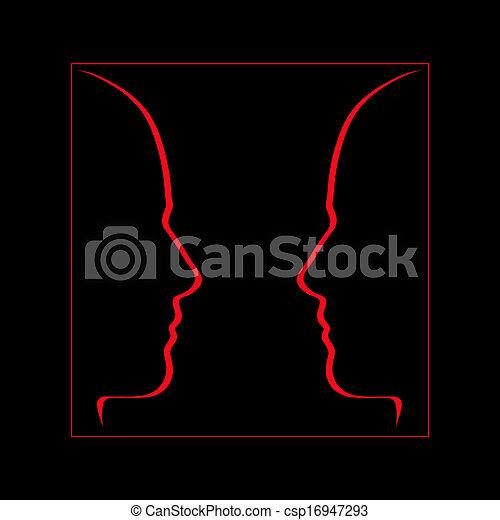 ansikte, konversation, kommunikation, ansikte - csp16947293