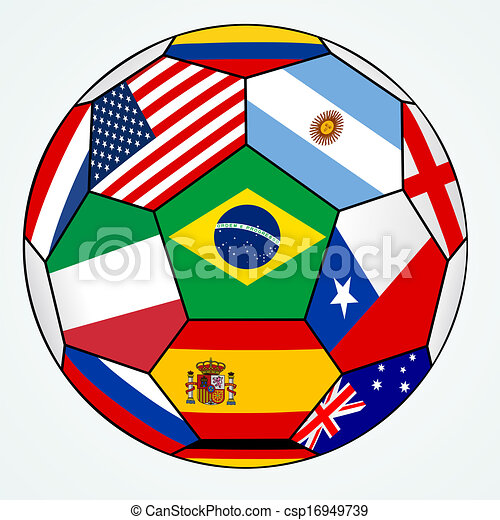 vector soccer with various flags - csp16949739
