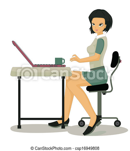 Vector Clipart of Working women. - Woman working at computer desk with
