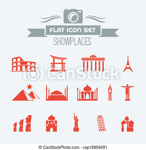 EPS Vectors Of Landmarks Flat Icon Set With Lable Vector