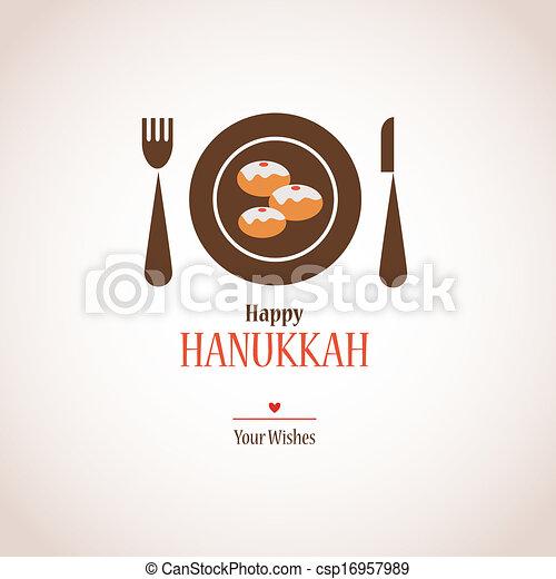 hanukkah dinner invitation,  traditional donuts on plate - csp16957989