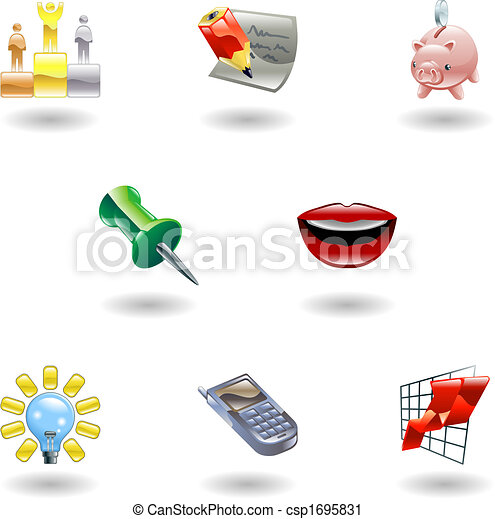 Glossy Business and Office Icon Set - csp1695831