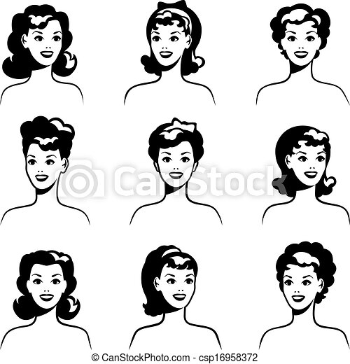 Vectors Illustration of Collection of portraits beautiful ...