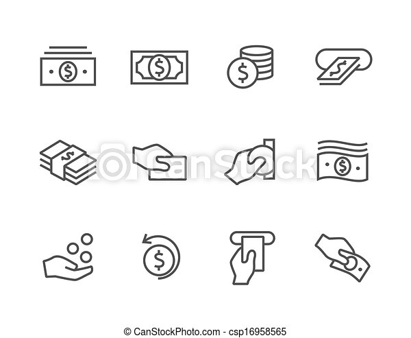 Free Money Drawings Stroked Money Icons Set