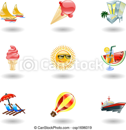Shiny summer icons - csp1696019