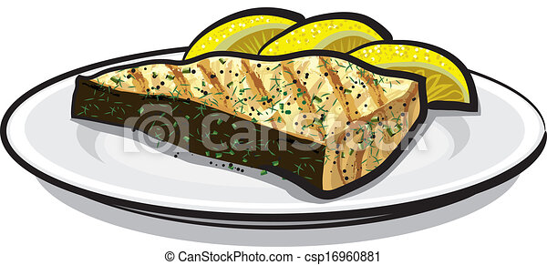 Vector - baked fish - stock illustration, royalty free illustrations ...