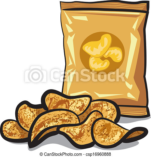 Vector - potato chips - stock illustration, royalty free illustrations ...: www.canstockphoto.com/potato-chips-16960888.html