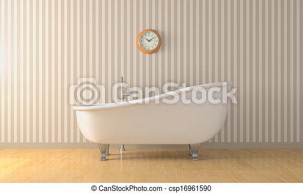 Stock illustratie van ouderwetse ligbad een badkamer for Badkamer plannen in 3d