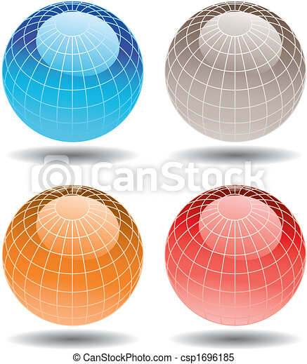 4 colorful globes - csp1696185