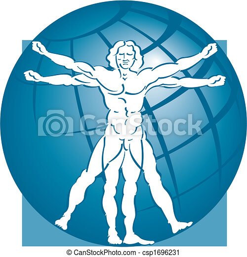 vitruvian man with a globe - csp1696231