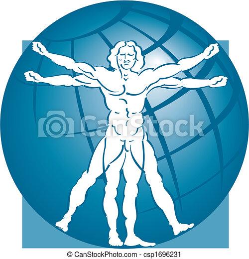vitruvian man with a globe - csp1696231