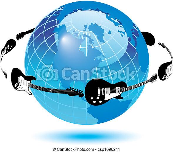 Guitars circle the earth - csp1696241