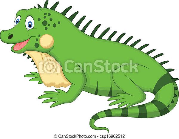 Vector Clip Art de lindo, iguana, caricatura - vector, Ilustración ...