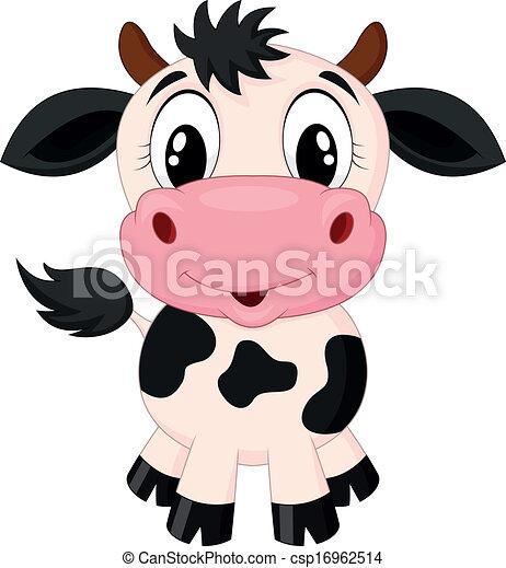 Vector Clip Art of Cute cow cartoon - Vector illustration of Cute ...