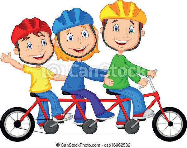 Vectores de feliz, familia, caricatura, equitación, triple ...