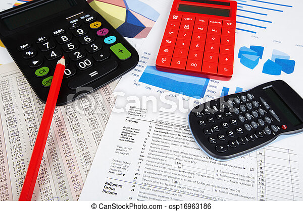 Calculator and office objects. - csp16963186