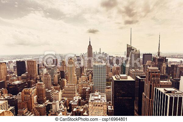 Manhattan skyline aerial view - csp16964801