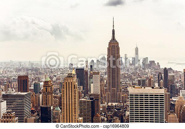 Manhattan skyline aerial view - csp16964809