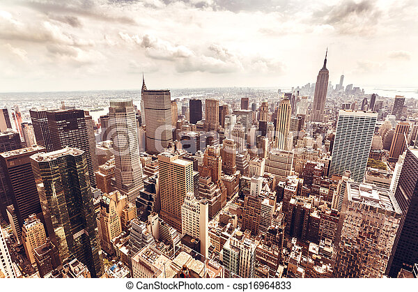 Manhattan skyline aerial view - csp16964833