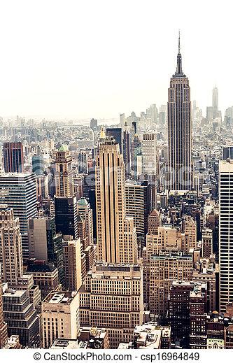 Manhattan skyline aerial view - csp16964849
