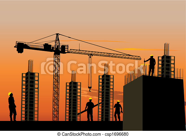 Silhouette of construction site - csp1696680