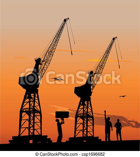 Silhouette of harbour cranes - csp1696682