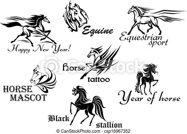 Clipart Vector of Horses stallions and mustangs for tattoo or ...