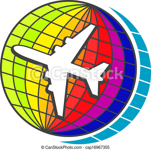 Clipart Vector Of Flying Airplane On Earth Globe For