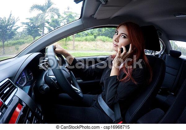 usando, mulher, esperto, telefone - csp16968715