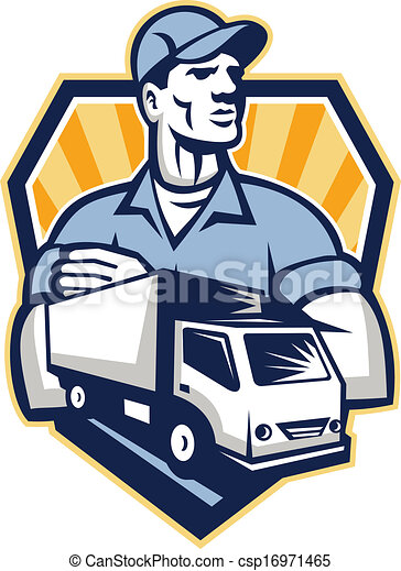 Clip Art Vector Of Removal Man Delivery Truck Crest Retro Illustration Of A Csp16971465