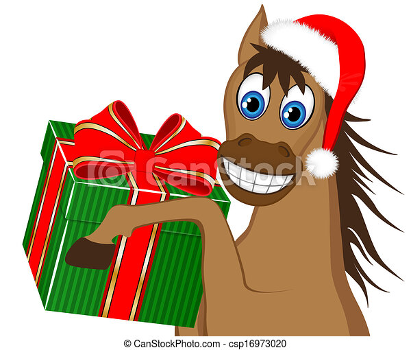 funny horse with a gift - csp16973020