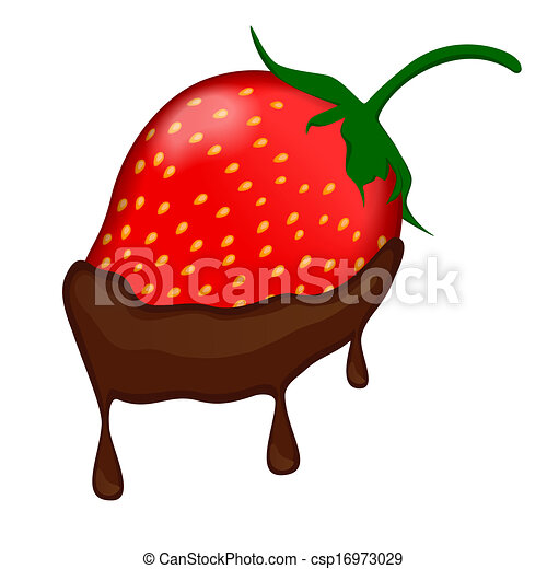 Vector - chocolate covered strawberry - stock illustration  royalty    Cartoon Chocolate Covered Strawberry