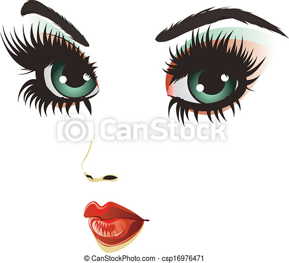 Vectors Illustration of Beauty woman face - Beautiful girl face ...