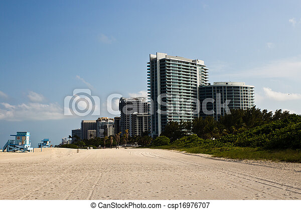 Residential buildings on the beach in Miami, Florida - csp16976707