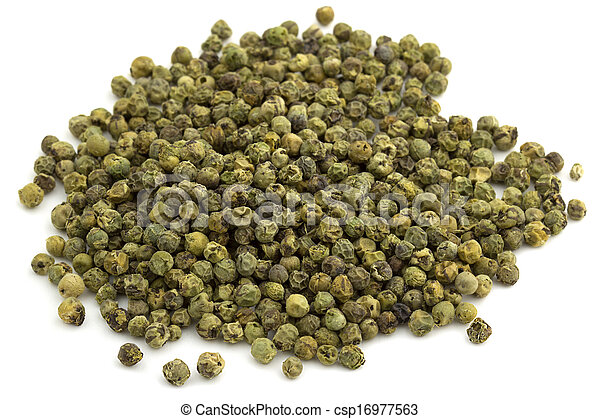 heap of green peppercorns isolated on white background