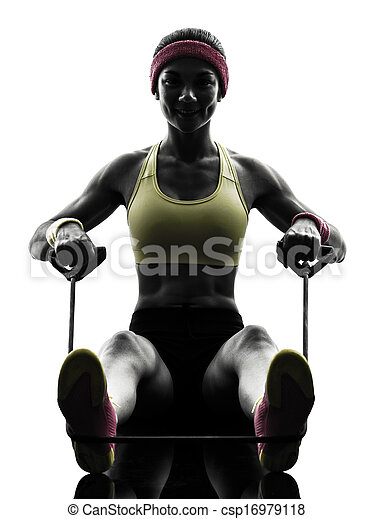 woman exercising fitness workout resistance bands silhouette - csp16979118
