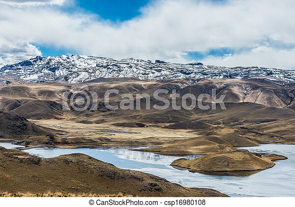aerial view of Lagunillas in the peruvian Andes at Puno Peru - csp16980108