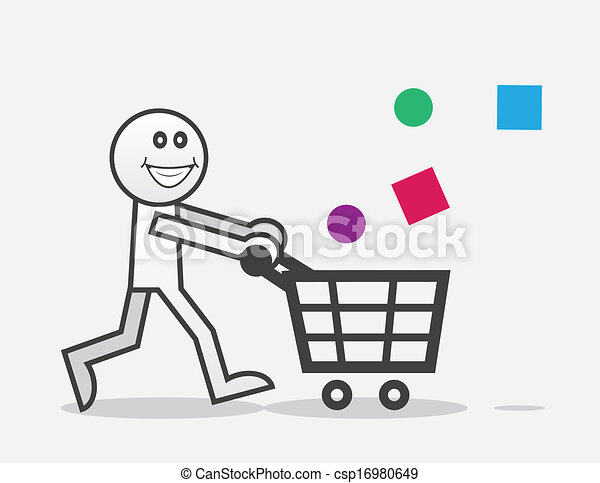 eps vector of shopper happy happy shopper with objects