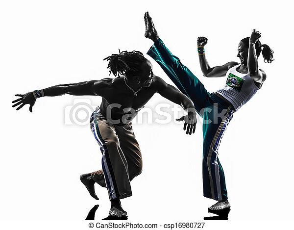 couple capoiera dancers dancing   silhouette  - csp16980727